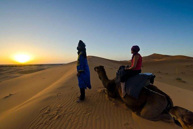 Embark on a day trip to Merzouga Desert from Errachidia and explore the magical Erg Chebbi desert is a 50km long and 5km wide set of sand dunes that reach up to 350m high! Make the best of your stay while in Morocco!
