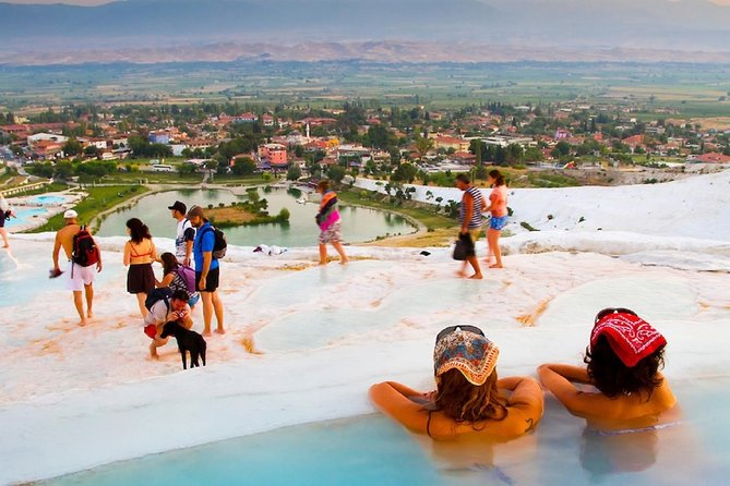Pamukkale, the marvellous attraction of Turkey, is a must-see and should be on your list even you are in Antalya. On our guided one-day tour from Side, have a day of wonder at the ''Cotton Castle'' of the World, enjoying the hot springs, the dazzling white coated travertines and the ancient city ruins of Hierapolis.