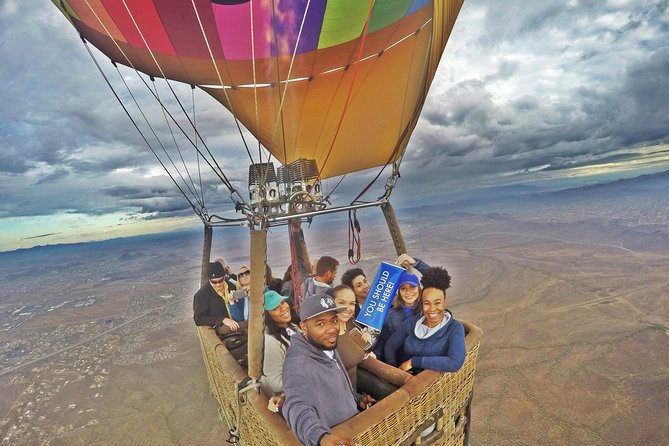 Enjoy a scenic hot air balloon flight over the Sonoran Desert viewing 1000's of species of flora, fauna, and wildlife. At altitude touring the majestic views of the surrounding Phoenix metro valley. See sights from altitude such as the McDowell Mountain Regional Park, Downtown Phoenix & Tempe, Camelback Mountain and much more. At the end of your flight, celebrate with a traditional post flight champagne toast and fresh fruit.