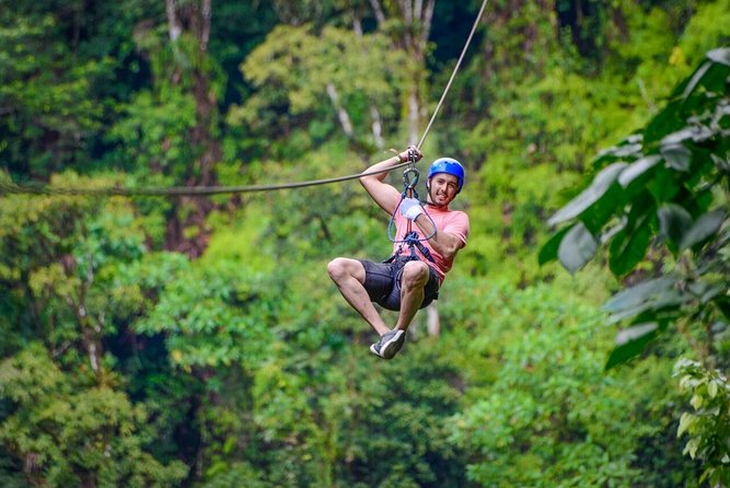 Zipline and Baldi Hot Springs at Arenal Volcano from Guanacaste, Liberia, Costa Rica