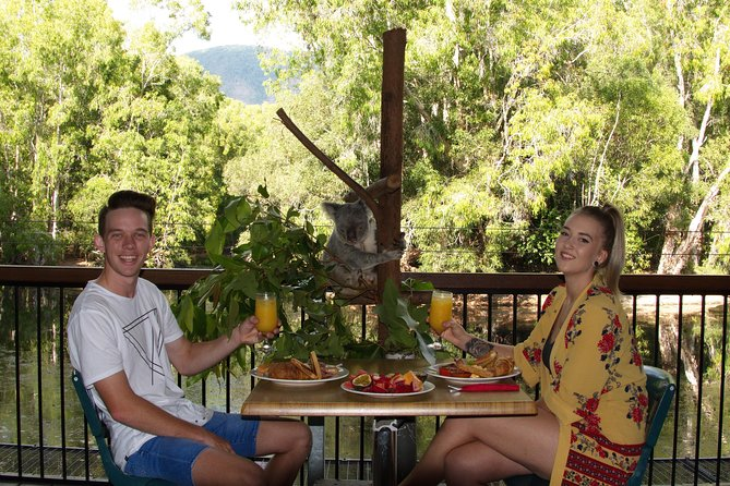 'Hartley's Breakfast with the Koalas' A great way to start your day is breakfast at Hartley's Crocodile Adventures. Breakfast relaxing on the deck overlooking Hartley's Lagoon. A delicious cooked breakfast, including scrambled eggs, bacon, hash browns, sausages & toast with fruit juice, tea or coffee. One of our Wildlife Keepers will be on the deck between 9:00am & 9:30am with a Koala. This is a great time to ask questions learn more about this amazing Australian animal. After breakfast, enjoy all the wildlife presentations at Hartley's Crocodile Adventures including a boat cruise on Hartley's Lagoon.<br><br>Breakfast is available daily from 8:30am – 9:30am.<br><br>Self-drive visitors should arrive at 8:30am in readiness for an 8:45am start for breakfast.<br><br>The breakfast package includes general admission, a boat cruise on Hartley's Lagoon & all of the daily wildlife presentations.<br>