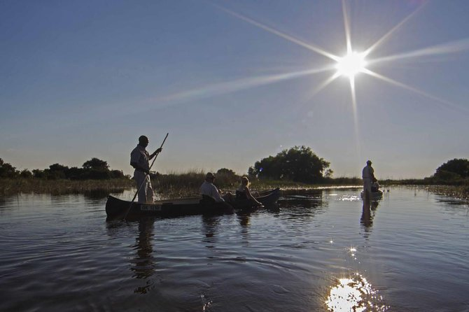 This is a 3 days mokoro(canoe) adventure in the Okavango Deltathis tour is strictly camping in tentes and bedrolls provided by us.The tours starts with a pick up from the Maun International Airport or from a lodge or hotel or a pre-arranged location in Maun.There are 3 activities in this tour which are nature walks,mokoro sunset cruise and mokoro sunrise cruise.This is an all inclusive tour. <br><br>We provide the following which are included in the price <br>-All camping equipment <br>-All meals <br>-Bottled water <br>-Activities <br>-Transfers to mokoro station <br>-Professional Guide <br>-Chef <br>-Camp assistants <br>-Park and camping fees