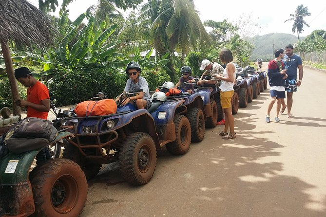 Atv Adventures hald day tours , 4 hours to enjoy and discover part samana, visiting our Rincon Beach, Dominican Family and learning about our land and culture. we pick you up in any hotel in samana or las Terrenas by bus until our ATV Base,located in Los Naranjos close to Xeliter Vista mares Hotel, arrivimg in our ATV Adventures Base you will meet your tour guide who will give you all infomation how you can operate our ATV yamaha Crynzly 350 cc full automatic. this tour get start at 09:00am and finish at 1:30pm we transporting you back to you hotel.