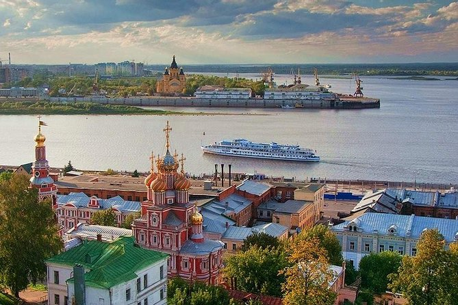 What could be more fascinating than the opportunity to combine informative tourism with a scenic river cruise! Get a unique chance to explore the best of Nizhny Novgorod on foot, enjoy the natural beauty of the city and get the most out of your experience while taking a river cruise along Volga and Oka rivers.<br><br>Nizhny Novgorod is one of Russia's major cities. The dominating feature of the city skyline is grand Kremlin (1500-1511), with its red-brick towers. After Bolshevik devastation, the only ancient building left within the Kremlin walls is the tent-like Archangel Cathedral (1624-31), first built in stone in the 13th century. The city has a truly fascinating history that you will learn more about during your tour.<br><br>You will see:<br>• Kremlin<br>• Chkalov staircase<br>• Minin and Pozharsky Square<br>• Archangel Michael Cathedral<br>• Arsenal<br>• Governor`s house<br>• Eternal Flame monument WW2<br>• WW2machinery<br>• Kozma Minin tombstone<br>• Column monument to national heroes<br>• Guaranteed skip-the-line entrance