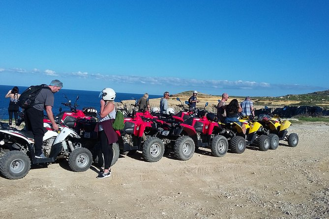 This half dayafternoon tour will give you the opportunity to explore the hidden charms of Gozo whilst enjoying the fun ride that a Quad bike offers. <br><br>Visiting: <br><br>Marsalforn Bay <br><br>Salt Pans <br><br>Ghasri Valley <br><br>The Inland Sea<br><br>The Fungus Rock<br><br>Dwejra Bay<br><br> <br><br>On your way back to Malta you will aboard a powerboat for 20 minutes around Comino (weather permitting) and in Malta there will be our transport waiting to take you back to your accommodation in Malta. <br><br>This tour offers several stops so one can have a break from driving and could also take pictures. <br><br>This tour starts from Mgarr, Gozo Harbor.<br><br>We will provide helmets and a tour leader will be touring on his quad. All participants are covered by third party liability insurance whilst taking part in any of our tours. <br><br>