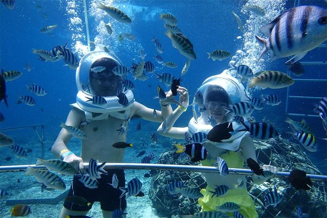 Bali Ocean Walker  will give you fully fun underwater adventures while you holiday in Bali. Get close to many kinds of fish by walking on the bottom of the sea and feed them directly. This adventures is suitable for everyone and no need swimming skill or diving skill. This tour also will take you to visit beautiful white sand Padang-padang beach and most visited Uluwatu Cliff Temple in Bali Island. After that you will enjoyng 2 hour Spa ended at Jimbaran Bay for romantic candle light dinner on the beach.