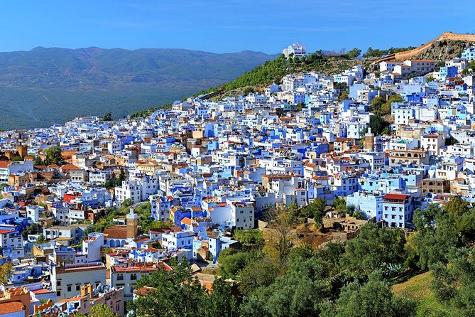 Take a day trip to Chefchaouen, the famous blue and white-washed city of Morocco located in the Rif Mountains. On this private 12-hour day trip, you will visit the small city and discover the shops, cafes, Grand Mosque, Plaza Uta el-Hammam (main square) and kasbah museum. This full-day tour includes transportation in an air-conditioned vehicle and driver.