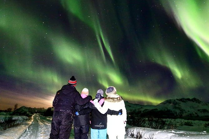 The perfect tour for Aurora lovers. This is a very cozy excursion, perfect for those who want to enjoy the Northern Lights and take good <br><br>pictures with the help of our photo guide.<br><br>We will search for the magic lights in the north side of the archipelago between old fishing villages and wild Artic nature.<br><br>During our amazing experience we will stop in a very old and typical Norwegian pub where we will warm up enjoying a Norwegian coffee and a good atmosphere.<br><br>English speaking guide at your disposal. Other languages on request.<br><br>The tour can be cancelled in case of bad weather conditions or when the solar activity is too low to ensure a good observation.