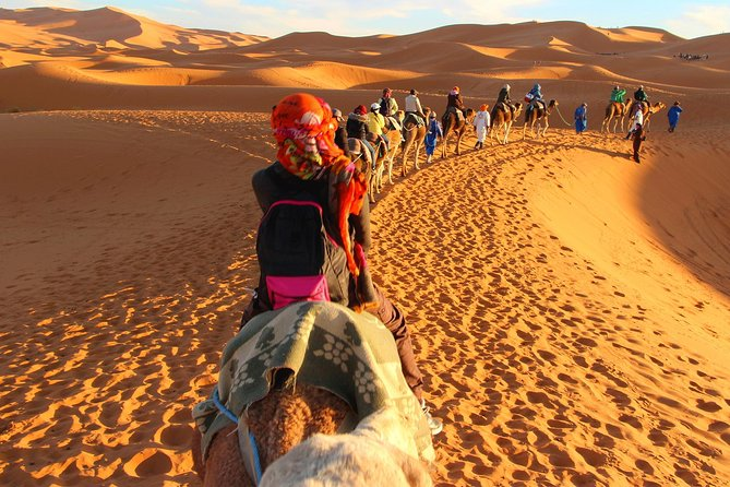 Leave the bustling medinas and souks behind and discover an altogether slower pace of life on this 3-day desert tour to Merzouga and Erg Chebbi from Marrakech. Take the Tizi-n-Tichka pass through the High Atlas Mountains and visit the UNESCO-listed Aït Benhaddou kasbah with your guide. Discover a lush oasis of palm trees at Skoura and travel along the Dadès River. Visit Rissani, the ancient capital of the Tafilalt region. Meet your camel caravan in Merzouga and enjoy an evening under the stars in the Sahara Desert. Group size is limited to 17 on this tour.