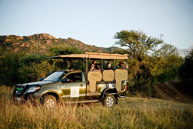 After collecting you form your hotel or residence in Johannesburg between 06:00 – 06:30, we travel to the Pilanesberg Nature Park <br><br>We should arrive at Pilanesberg Park around 9am where we will then board and start our 1st open vehicle safari drive ( +- 3 hours) in search of the Animals that inhabit the National Park We will then have a short stop from 12 pm until 1 pm for lunch at Pilanebserg Center inside the middle of the park overlooking a beautiful waterhole . After Lunch we will depart on our 2nd Open Safari Drive (+-2 hours) we depart the park around 15h30 arriving back in Johannesburg between 17h30 to 18h00