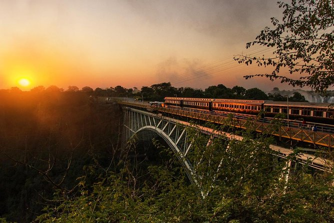 Take a trip back in time on this 5.5 hour steam train dinner tour to the Victoria Falls Bridge.  Experience all the luxury and grandeur of a bygone era, as you'll enjoy 5 star service, while savouring a delicious four course gourmet dinner, marvelling in the surrounding beauty of Victoria Falls at sunset. This is the ultimate Victoria Falls gourmet dinner experience.