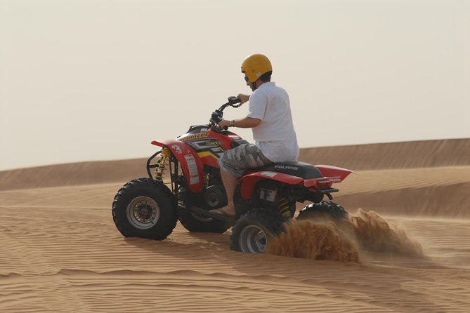 You will be picked-up at your hotel by your guide at 9:30am for a unique one-hour experience in the Arabian desert. Experience the fun, action and thrill of riding a powerful 250cc to 400cc quad bike through the sandy desert dunes while exploring the beauty of the desert. You will be returned to your hotel at approximately 1:30pm. Each guest will get one bike for one hour in the open desert