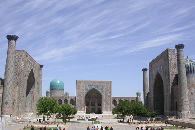 Explore Samarkand,the famous capital of the 14th-century Timurid Empire, on this guided, 1-day sightseeing tour from Tashkent. Samarkand is one of the oldest inhabited cities in Central Asia, prospering from its location on the Silk Road between China and the Mediterranean. Roam Samarkand's streets in search of its famous mosques and mausoleums. Also, visitRegistan Square in the heart of Samarkand, plus the Ulugbek Observatory, the Gur-Emir Mausoleum, and much more. Hotel pickup and drop-off in Tashkent, plus all entry fees are included on this small-group tour.