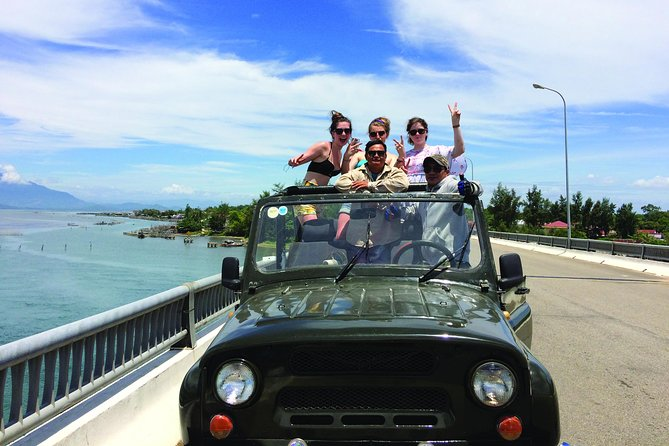 Turn your Hoi An to Hue or your Hue to Hoi An transfer into a unique adventure by traveling in one of our open top jeeps.<br><br>We'll get you where you need to go with some fun along the way! Passing by the famous Marble Mountain, a drive over the top of the spectacular Hai Van Pass before traveling along the coast through some small and charming fishing villages.<br><br>With many local beaches to stop at we will cool off in the East Sea before jumping back into the jeeps to travel through the compelling City of Ghosts before arriving in Hue.<br><br>Runs also in reverse from Hue to Hoi An!<br><br>Please note: This is a transfer tour, that starts in Hoi An and finishes in Hue or if you want to travel the other way, it starts in Hue and finishes in Hoi An. It's not a round trip! <br><br>Great way to meet new friends! <br><br>As an open tour, you can book as a single traveller and we put you together with other adventurers. <br><br>Have you met others traveling the same route as you? Book together!<br>