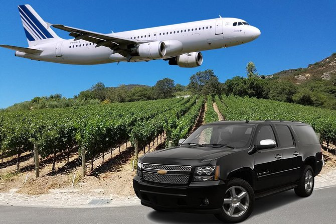 Enjoy a one way airport transfer from Sonoma or Napa Valley while visiting a few wineries of your choice on the way. You'll have the option of two luxury vehicles, a sedan or a SUV. This service provides transport to both San Francisco International Airport and Oakland International Airport.