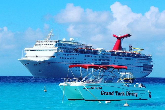"""A """"Private Snorkel Charter"""" on board a 28' World Catamaran will give you 4 hours to enjoy the beautiful waters surrounding Grand Turk. This tour will take you to Gibbs Cay, a soft sand, uninhabited Island on the east side of Grand Turk. heree you can swim with the stingrays and enjoy the snorkeling over the colourful reef close to shore or simply relax on the beach. Also included are one or two snorkel stops over the wall (which is the 3rd largest barrier reef system in the world and rated in the top 10 places to dive and snorkel in the world). The boat will be yours for 4 hours and you can make as many or as few stops as you like within time, safety and fuel limits."""