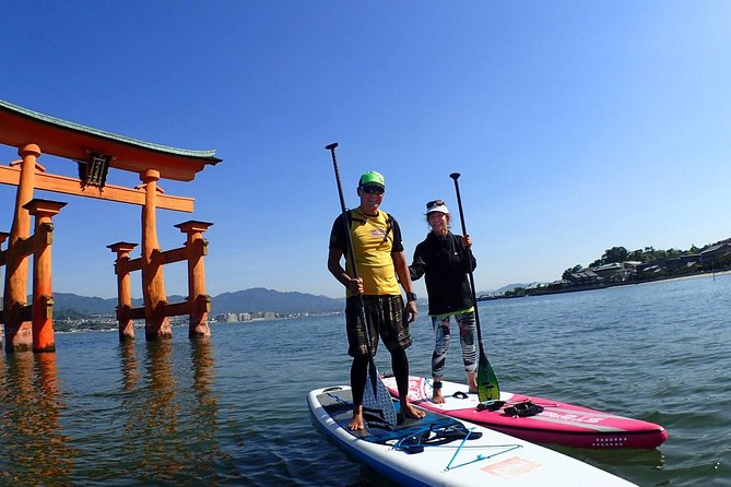 Let's cross the sea by SUP and aim for the World Heritage site Itsukushima shrine. This plan is a premium experience where you can go through the torii gate floating in the sea by SUP. A calm lesson is provided for beginners and an exciting course where you can cross the sea for experienced participants. A gently and beautiful sea where a lot of islands can be found; a scenery which is rare even in Japan, is waiting for you<br><br>•Worshipping Itsukushima Shrine up close from the ocean <br>•Extraordinary and exhilarating feeling you can only get from Stand Up Paddle Boat(SUP) experience <br>•Detailed lesson from experienced staffs<br>•Refresh your body and mind surrounded by the spectacular view of Setouchi Islands<br>•Special gift of commermorative photos of you with a World Heritage O-Torii Gate<br><br>※NOTICE<br>The great torii gate of Itsukushima has been under renovation since June 2019. There is a possibility that cannot be seen as normal. Please understand.