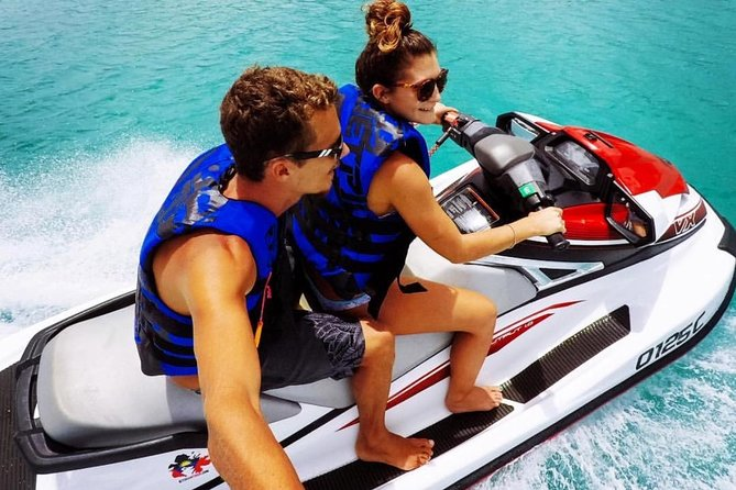 Explore Antigua's coastline on a guided Real Paradise Jet Ski Tour!  Just a short ten minute taxi ride away from St. Johns Port, Real Paradise Jet Ski Tours provides a one of a kind adventure for those seeking a unique experience.<br>Our NEW Yamaha Jet Skis are equipped with the latest features to ensure that each rider, adult or child, safely experiences an exhilarating on Antigua's crystal clear blue waves..