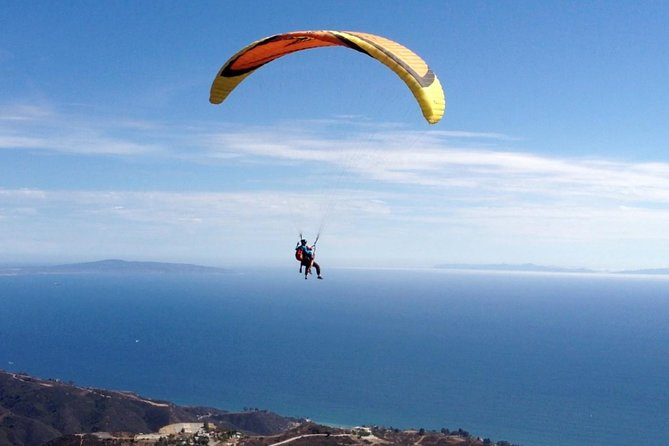 Take a thrilling trip over Malibu, California, with this tandem paragliding experience. Admire the Malibu hills and calm, azure waters of the Pacific during your motorized or non-motorized flight with a certified instructor. Safety equipment and a safety briefing are included, so all you have to do is relax and enjoy the ride. Don't miss this chance to inject some adrenaline into your vacation and get a birds-eye view of gorgeous Malibu!<br><br>We offer Paragliding flights from our 10 mountain sites in Malibu to make sure our customers get the best and safest experience. Thank you for trusting our 30+ years in the business and perfect safety record. <br><br>Remember the review system is absolutely inaccurate as we flew over 20,000 passengers and only 21 placed a review meaning 99.99% of our customers are very happy with our service. After all we have perfect safety record.