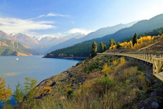 Discover the natural beauty of theTianshan Mountainand Heavenlylake from Urumqionthis full-day private tour. As the locals belief: Heavenly Lakeis where the immortals have their longevity banquet. Today, you will check out why! The 2-hour ride towards theHeavenly Lakeis itself a fabulous sightseeing trip through Mt. Tianshan. You willpasses a giant wind-farm, different rivers, and mountain pastures. In Summer time, you can take the boat on the lake to enjoy the scenery. While in winter, it is an idea high-mountain skating place.Y our tour includes informative commentary from your guide, private vehicle, entrance fee, and lunch. If you come in the summer time, you can choose the option to have a boat cruise on the lake.