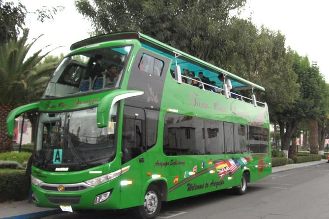 """The City & Countryside Tour is an experience to explore the buildings, places and the characteristic landscape of the City of Arequipa from a panoramic bus. Which moves around the city making specific stops to see squares, viewpoints and to admire the landscape route of """"La Campiña"""", under the assistance of a professional guide during the tour."""