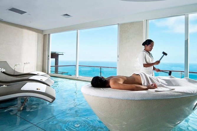 A luxury and relaxing spa treatment is perfect to relieve the stiffness of your muscle after the tiring Bali tours. The Edge Spa offers you a new Bali spa experience. While indulging yourself to enjoy their signature massage treatment, pamper your eyes with the magnificent of the view and interior design. There are 9 packages of massage treatment that lasts for 1 up to 2 hours. Enjoy the relaxing touch of your therapist while getting impressed by the liquid floor and your surroundings. Perching on the cliff in Pecatu, The Edge Spa offers you a stunning view of the mighty ocean. Get the feeling of being in the ocean with the well-thought design of your spa room.