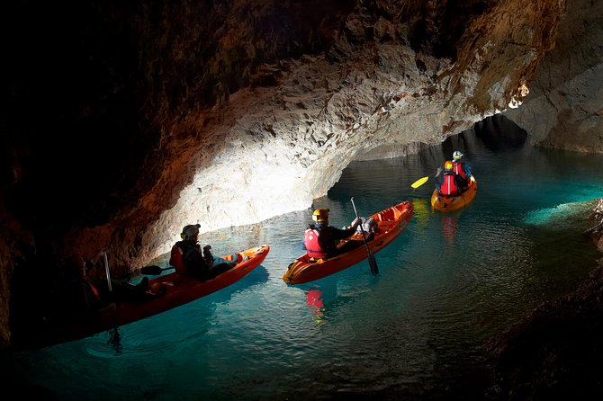 Experience the unique adventure through an underground mine on this 8-hour adventure from Bled. Explore the abandoned mines in complete darkness, with only the illumination of headlights to light your way. Temperature in the mines is only around 10 degrees Celsius, so guest should bring warm clothes. Kayaking equipment is provided and hotel pickup and drop-off is included. Guests stay underground for about 3-4 hrs, beginning with original mining train ride, followed by walking over steep stairs follows with staying on the water for about 1,5 hrs, while doing some kayaking. This special excursion is suitable for beginners as well as experienced kayakers.