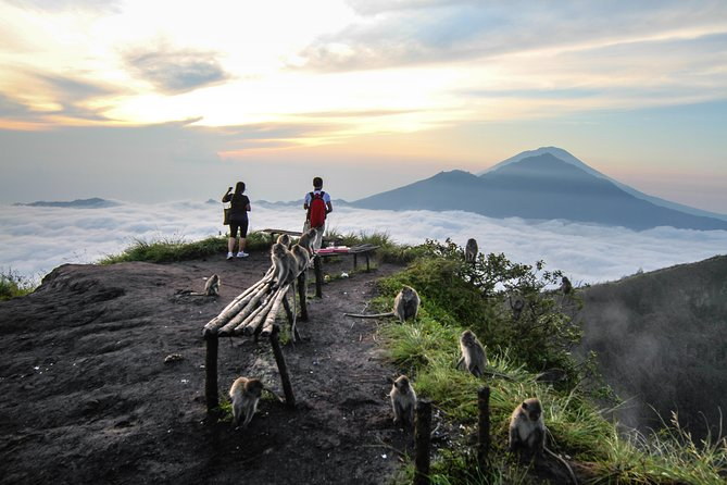 Experience an easy to medium level trekking tour that is about 4-5 hours total. Mount Batur is the second most active volcano in Bali, located inside a gigantic crater about 700m tall and 1717m above sea level.<br><br>The sunrise tour starts with an early hotel pickup at around 2am. You'll arrive at Mount Batur at around 4am, begin your ascent and reach the peak at about 6am, the perfect time for sunrise. Your breakfast will be served on the top of the mountain with egg and banana cooked with the natural hot steam<br><br>After the trekking, before back to the hotel you can relax your muscle by soaking in the natural hot spring, beside the beautiful lake Batur