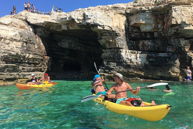 Join us and discover the untouched beauty of the southernmost cape of Istria. Jump into our sea kayaks and take your vacation on the next level! Take in the scenic views of islands & rugged Kamenjak coastline during a 40 minute paddle to our stop, the sea cave. We'll set aside our kayaks to explore & safely swim into the sea cave with the help of the guides. With our snorkeling equipment and guides native to the area, you won't miss any detail. For adrenaline lovers, cliff jumping right beside the cave is an additional fun experience! After the cave exploring, taking pictures and cliff jumping we hop on our kayaks to carelessly paddle back along the coast and bays with quick breaks on the way.