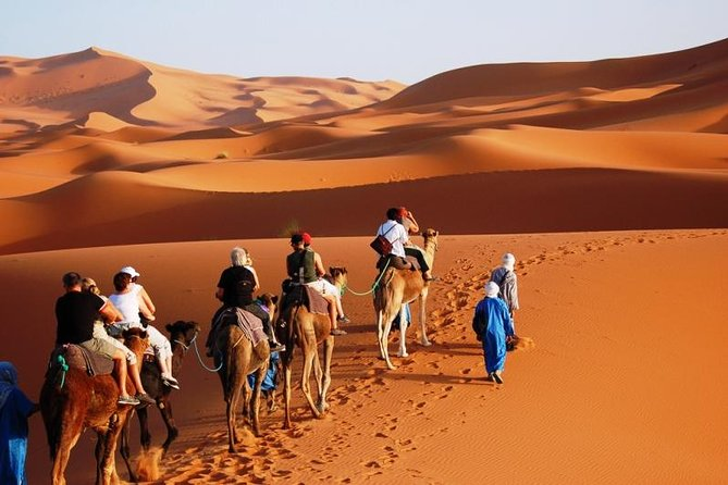 Experience the Moroccan Sahara Desert on a 3-day safari tour from Marrakech to Merzouga. Spend the night at a Bedouin camp in the Erg Chebbi dunes. Ride a camel to watch the sunset and sunrise. See the Kasbah of Ouarzazate, and much more. • enjoy the beautiful landscapes along the road to ouarzazate • visit the old unesco kasbahs • experience a camel ride and sleep in desert camp • visit the amazing canyons of dades and toudra gorges.