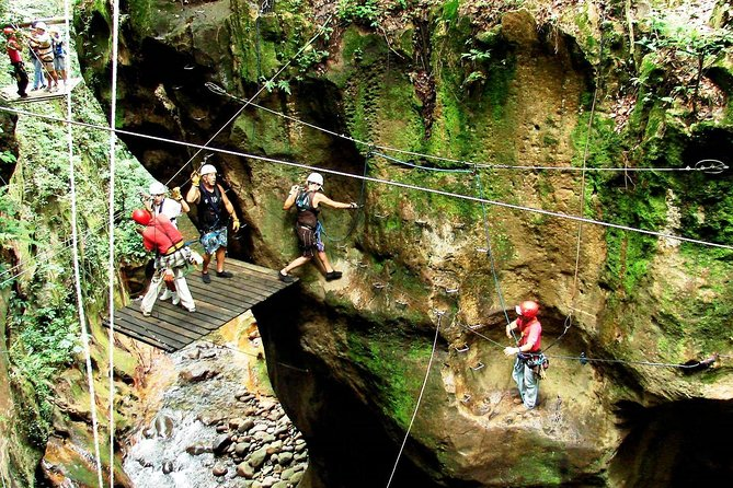 "The best all day adventure combo on Rincon de la Vieja Volcano that includes ziplining, horseback riding, river tubing, full lunch, hot springs, and volcanic mud bath.<br><br>Ziplining<br>The course takes you into a steep canyon where you will go down 8 zip line cables, 18 platforms, a rock climbing wall, a hanging bridge, rappel, and a tarzan swing! (wall, rappel & swing optional)<br><br>Horseback Riding - 45-minute ride through the forest viewing the local flora and fauna of the volcano<br><br>River Tubing - You will have the time of your life bouncing down Rio Negro's crystal clear and fun rapids in your individual rafting ""tube"" for over 5 kilometers. <br><br>Lunch includes a salad bar, many choices of entrees and sides, dessert bar, fresh juice, coffee and tea. All dietary resctrictions can be accommodated<br><br>After lunch you will driven to the Hot Springs & Mud Bath. Surrounded by tropical dry forest, the Río Negro Hot Springs feature ten pools with waters heated naturally by the Rincón de la Vieja Volcano."
