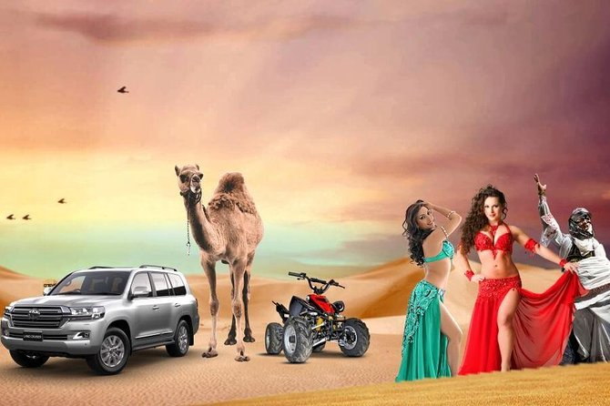 Package Inclusions<br><br>Bus pickup from Dubai or Sharjah (2:30 pm – 3:00 pm).<br><br>Enjoy a bashing party at the dunes for 10 to 15 minutes.<br><br>Free Camel Ride <br><br>Quench your thirst and satisfy your small cravings with lots of free snacks.<br><br> sodas, and beverages at our campsite.<br><br>Tea & Coffee lovers order free cups of tea or coffee at the campsite.<br><br>Treat yourself with a scrumptious Desert Dinner Buffet.<br><br>Dinner including a wide range of authentic cuisines and sweets (both Veg & Non-Veg Platters available).<br><br>Surf through the rich golden sands of Dubai with our Free Sandboarding Facility.<br><br>Ladies get their hands printed with adorable Henna/Mehndi tattoos.<br><br>Have fun watching live Belly Dance.<br><br>Amazing Tanura show <br><br>Let our Dubai Desert Safari Fire Show boost your excitement levels.<br><br>Smoke a Sheesha Pipe, a cocktail of Sheesha flavors to suit your demands.<br><br>Drop off back to the city at your preferred destination.<br><br>Separate toilet for males and females.