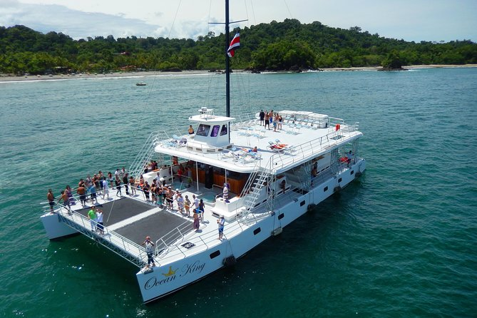 Come and enjoy some of the best tour at Manuel Antonio area, or if you want you can leave your car at the Pez Vela Parking area (free of charge). Fresh fruit, snacks, Costa Rican brand alcoholic and non-alcoholic drinks. we starts with transfer from your hotel (Manuel Antonio and Quepos) to the magnificent Pez Vela Marina.The Ocean King is a 100 foot long catamaran. The boat offers two huge trampolines, two Jacuzzis, two winding water slides, an enormous bar, living room, and four bathrooms and showers.The cruise will take you along the gorgeous Manuel Antonio coas including tropical islands and all around beautiful scenery.You will be able to swim, and water slide off the boat. Snorkeling gear will be provided to those that wish to do so (no extra cost).While you may see some wildlife, the main attraction is fun and relaxation. The Ocean King provides a Costa Rican style lunch.