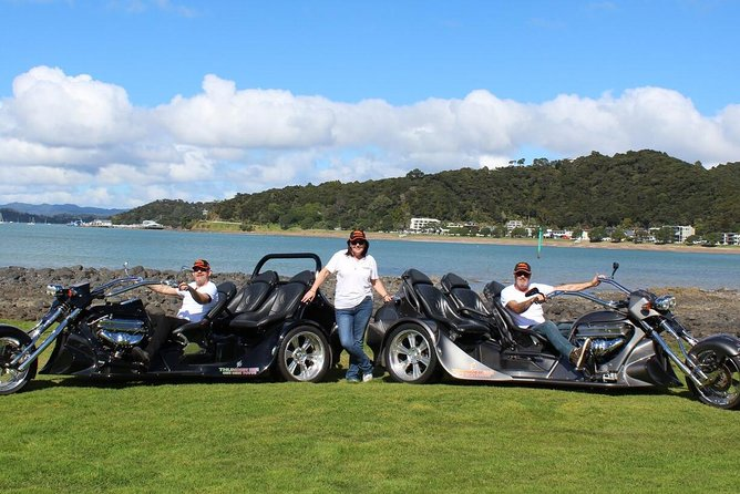 Have awesome thrills on a V8 350 Chev Trike with a 60 minute tour from Paihia. For those that love adrenaline, experience the sense of freedom with no helmets (full seatbelts) on this beast whilst enjoying the scenic Bay of Islands.<br><br>Visit Opua - a marina seaside village, Haruru Falls, and Waitangi Lookout for some memorable moments and amazing views!<br><br> A definite bucket list experience.<br><br>Summer - bring a light sweater, sunglasses and camera<br>Winter - bring a jacket and perhaps a beanie, sunglasses and camera<br><br>Cruise ship passengers need to catch the free shuttle bus into Paihia (approx 5 mins) and we are located beside the bus stop and the I- Site (information centre)<br><br>Price is for two travellers
