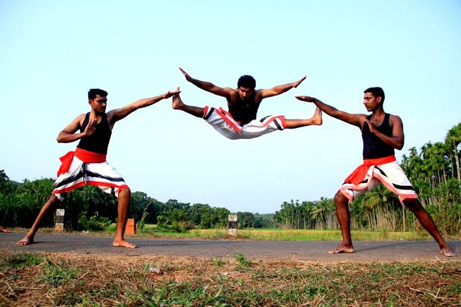 In this one day Kalaripayattu tour you will experience different steps in Kalaripayattu by experts and students of the Kalari Institute in Cheemeni, Kasaragod. A guide will accompany you to Kalari. Group of photographers or researchers can benefit from this tour. Group limit 2-6 people.<br><br>Picking and dropping can be arranged from nearest railway or bus station in Kannur/Kasaragod on request with additional charge. Accommodation also can be arranged on request