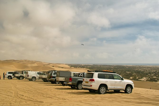 Experience the adventure and beauty of exploring the Namib desert in your own 4x4 vehicle lead by our experienced guide. There are many interesting sights to see including desert fauna and flora, and giant sand dunes. Navigate the thin stretch of coast where giant dunes meet the Atlantic ocean on your way to Sandwich Lagoon. Price includes recovery equipment, two way radios. NO FOOD OR DRINKS INCLUDED. <br> *******PLEASE CONFIRM THAT YOUR VEHICLE INSURANCE WILL COVER DRIVING ON SAND AND SAND DUNES, PRIOR TO STARTING THIS TOUR. WE WILL NOT BE RESPONSIBLE FOR ANY DAMAGES OR INJURY THAT OCCURED DURING THIS TOUR. THIS TOUR IS STRICTLY AT YOUR OWN RISK*******