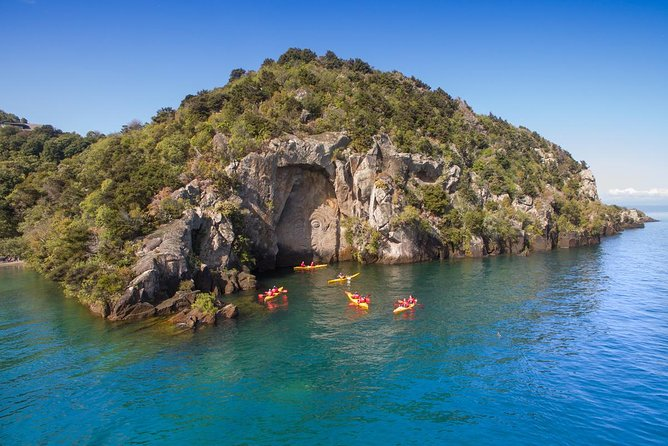 Glide your kayak over Lake Taupo's crystal clear waters as you paddle to the awe-inspiring Maori Rock Carvings on this 4-hour guided tour.<br><br> Soak in the view across the Lake to 3 live volcano's while you hear the history of the carvings, various Maori legends and facts of the local area from your guide before enjoying rock jumps and a swim in Australasia's largest freshwater Lake. A must-do while in Taupo!