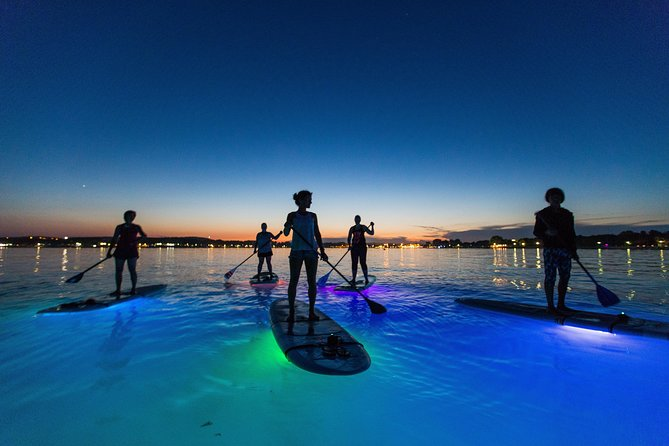 "The ultimate ""Glow Paddling"" adventure on our SUP Glow night tour! <br><br>An experience that really shouldn't be missed.<br><br>This tour starts at approx. half an hour after the sunset so it will vary accordingly. <br><br>The duration of the tour is 1:30h.<br><br>All our boards are equipped with multi-color LED lighting that creates amazing fluorescent scenes. This trip is strictly a guided tour, and the route includes paddling through​ the calm waters of the bay, on top of a fully-lit paddleboard, which allows you to peek into the underwater world and enjoy paddling in an​ entirely new and exciting way! <br><br>"