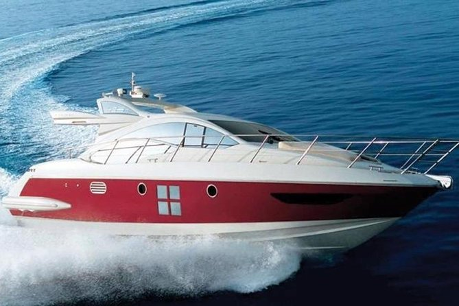 Azimut 43Smotor yacht with skipper, can hold up to 9 passengers for a day charter and is ideal for sailing vacations and day charters around Brac, Hvar and the Korcula Islands.<br><br>The challenge Azimut set itself when designing the new Open was to create dual purpose areas in which to enjoy the wind, the sun and the open sea, but with the same privacy and comfort offered by flybridge yachts.<br><br>The 43S has a distinctly sporty feel at the helm, thanks to a responsive, instinctive steering system and a hull designed for maximum performance.<br><br>Her tastefully decorated interior gives an unexpected sense of space. The Azimut 43S is a masterpiece of aesthetics, spaciousness, luminosity and livability.