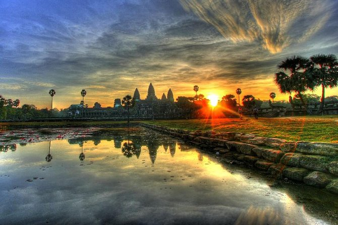 Budget travelers should enjoy this private tour in a good quality air-conditioned vehicle.<br><br>Experience a stunning sunrise against the beautiful backdrop of Angkor Wat.<br><br>The tour visits the three most popular temples at Angkor Archaeological Park during this seven hour tour and includes a professional English-speaking guide.<br><br>Travel in cool comfort and learn about the Angkorian art, architecture and culture, not forgetting to take some amazing photographs from our recommended scenic spots.<br><br>For an additional treat, book one of our '+' options which include optional BREAKFAST, 2 MEALS or APSARA SHOW (plus 2 meals). All the optional meals are served at clean top quality restaurants. Enjoy the tasty set Khmer breakfast and lunch at Angkor restaurants.<br><br>Guests who book the '+APSARA SHOW' option are picked up in the evening and are taken to see an Apsara dancing show in town, during which they have dinner.<br><br>If guests do not want to book the optional meals, they can bring their own snacks.<br>