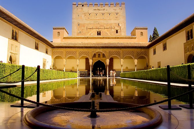 """A beautiful excursion by bus that circles the National Park of Sierra Nevada in order to visit the jewel of the Andalusian Heritage, the Alhambra at Granada. Visit the Alhambra, with the Nasrid Palaces, The Alcazaba, Carlos V Palace and the Generalife Gardens. Discover the most visited monument of Spain, one of the finalists of the contest """"The new seven wonders of the world""""."""