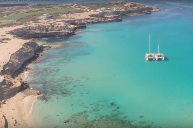 Private luxury sail catamaranto Cala Comte beach in Ibiza and other nearby beaches in ibiza. Lie down on the nets and feel that you are floating over the waves while our super friendly captains, who are devoted to our customers, will take you to Cala Conta (Compte), considered the best beach in Ibiza according to Tripadvisor. Anchor for swimming, snorkelling, paddle boarding, and jumping off the boat into the crystal clear turquoise waters of Cala Comte. Feel free to bring your own food and drinks or disembark for lunch at any of the restaurants at the beaches where we will anchor. In the full day trip we will also take you to Conejera Island and Cafe Mambo and Cafe del Mar for sunset.