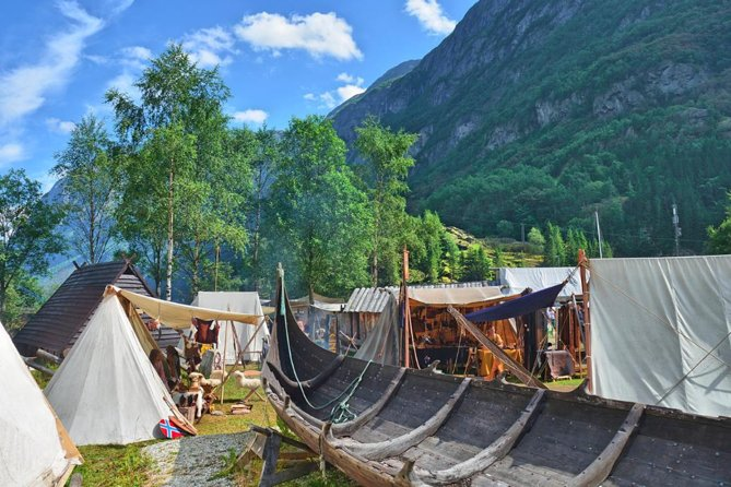 """This adventure is a great opportunity to see a real life Viking village in Njardarheimr (near Flam), you will experience an authentic village that shows how the Vikings lived 1,000 years ago, when Gudvangen got its name. These are not actors in costumes, but """"real"""" Vikings of all ages, who adopt the Viking Age as a lifestyle. They know their history and have unique knowledge about the Viking life, which they would love to share with you!<br><br>The food in the camp is prepared from traditional recipes with ingredients (paid locally) that were available in the Viking Age. Items for sale are handmade and genuine.<br><br>This experience is a great choice for anyone on a cruise or visiting Flam for the day."""