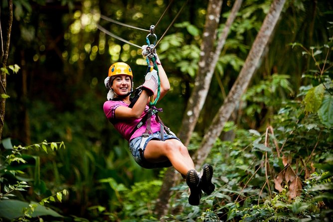 Get set for this two part adventure that will have you ziplining and kayaking through Antigua's natural ecosystems. <br><br>Your journey begins with a cross-island drive into the heart of Antigua's tropical rainforest as you make your way to the start of your zipline tour. After being welcomed with a complimentary fruit juice, get ready to soar through the rainforest on 8 breathtaking zip lines, some of which are up to 300ft. high! <br><br>Reboard the 4x4 jeep and continue your journey along the island's stunning south-west coast to the kayaking base. Here you'll board a speedboat for a short ride through the North Sound Marine Park to the kayak boarding platform. Your Eco-Kayak adventure will take you through the mangroves where your guide will point out the local marine and eco-life. <br><br>Finally you'll head to Great Bird Island for swimming, snorkeling and a delicious lunch.