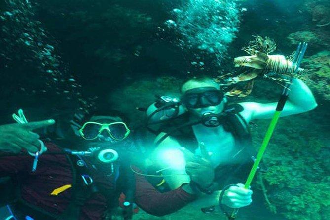 Scuba Diving Sustainable Lion Fish Spearfishing, Roatan, HONDURAS