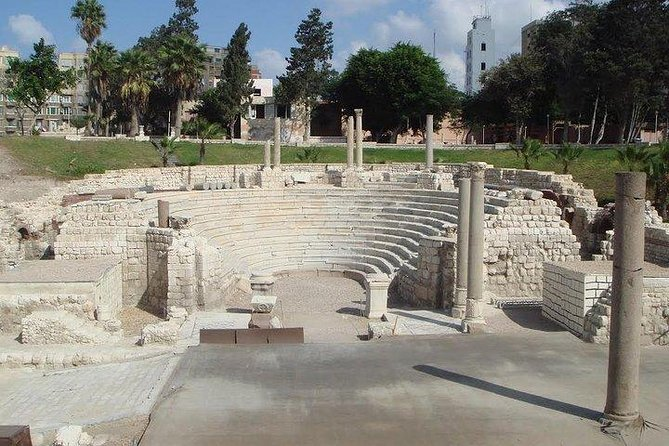 • we will visit the catacombs of kom El Shokafa which are the largest Roman Cemetery <br>• we also will visit the Roman Amphitheater of Alexandria and enjoy seeing the sunken monuments of Alexandria .<br>• we will visit the church of St. Mark – the oldest church in Africa and we then will visit the biggest mosque in the city the Abbo Elabbas Mosque and see an old funfair where children play on funfair rides.<br><br>we will see the outside of Quaitbay castle which was built on the same site as the ancient Lighthouse of Alexandria and then We will visit the gardens of Montaza ,enjoy seeing the Most beautiful Montaza Palace and the royal gardens of King Farouk (the last king in the history of Egypt) and enjoy walking on the famous Montaza bridge and see the Tea Palace island and the royal beaches of the queens.<br>