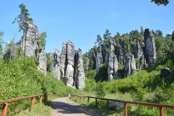 "Bohemian Paradise is a large area significant for its rock castles. It is made of three parts and we will visit one of them, the most beautiful - Prachov Rocks.<br><br>Just one hour by car from Prague, the park is situated 5 km from Jičín city. Mostly local Czech tourists admire mostly local Czech climbers who are trying to conquer various rocks in the park. Yes, this park is still not completely ""found"" by foreign tourists. However, it is very popular by Czech tourists. <br><br>You will be climbing constantly up and down to admire another and another view. It is great and intense experience in a virgin nature.<br><br>You should be moderately fit if you want to see everything. However, the trail may be shortened if you are tired. The total / longest distance of trail in the rocks is 5 km and you can see even little kids climbing all the way with their parents.<br><br>There is a possibility of lunch after the tour.<br><br>Park is open all year long."
