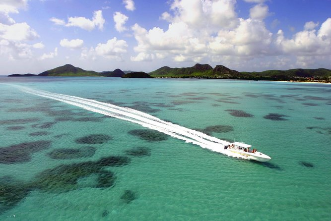 This exhilarating adventure takes you right around Antigua's rugged coastline in a 45' offshore racing boat. Enjoy a high speed run through the islands and cays of the North Sound, followed by an exclusive hour long swim and snorkel with the southern rays at Stingray City Marine Park. <br><br>Then we'll head to Green Island where you can take a refreshing dip before enjoying a buffet lunch.Next cruise around Nelson's Dockyard while listening to a brief history on this historic area. Finally snorkel at the Pillars of Hercules making a final stop at a secluded beach on the south side of the island.<br>