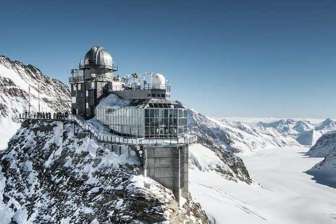 Immerse yourself in a breathtaking Alpine wonderland on this guided day trip from Interlaken to the Top of Europe. Travel by coach through the Jungfrau region to Grindelwald, and take the cogwheel train up the Jungfraujoch pass to arrive at Europe's highest railway station. Soak up a stunning panorama of snowcapped Alps, spot Europe's longest glacier, and walk through the one-of-a-kind Ice Palace!