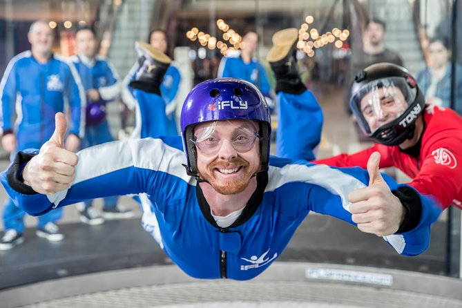 Arrive at iFLY Manchester and safely float in an 800-horsepower vertical wind tunnel that generates a wall-to-wall cushion of air commonly used by professional skydivers without having to jump from a plane. Just about anyone can fly and no experience is necessary.<br><br>Once inside the flight chamber, a tunnel operator slowly increases the wind speed until you and your instructor are airborne. Feel the adrenaline rush as you float at wind speeds reaching 130 to 175 mph (209 to 282 kph). The stable wall-to-wall airflow keeps you from falling off the column of air and your instructor is on hand at all times to guide you.<br><br>The entire indoor skydiving experience takes about 90 minutes from start to finish. Each session includes up to 6 people, but you fly one-on-one with your instructor twice - the same freefall time as three tandem skydives!